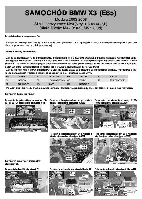 Schemat Elektryczny Bmw X3  E85   Autoelektro Nr 98